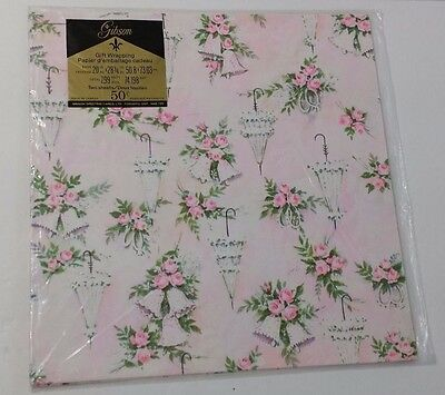 Vintage Wedding Wrapping Paper Gibsons Shower Gift Wrap Bells Umbrella Present