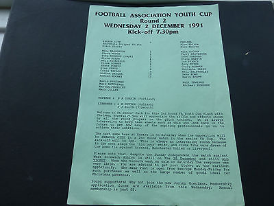 Chelsea youth team programme, Exeter City v Chelsea (FAYC) Rnd 2 02/12/1991.