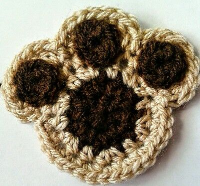 A Pack Of Four Crochet Dog Paw Appliques~ Browns~ Paw Print Motif  Free P&p