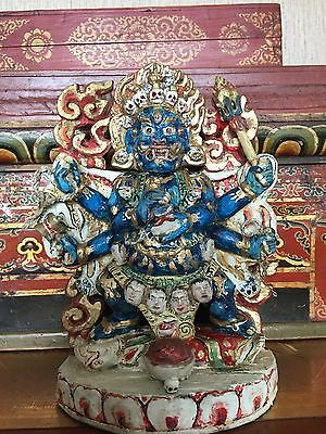 Mongolian Buddhist Old Wooden MAHAKALA 19-20th century