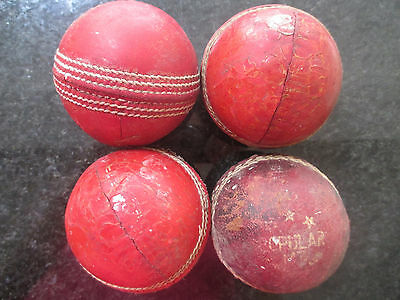 4 Used Cricket Balls Collectable Vintage