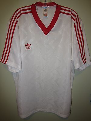 80s? ADIDAS white red stripes shirt football jersey vintage XL made in Bulgaria