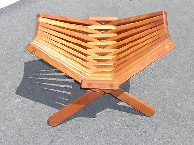Unique Danish Mid Century Modern Folding TEAK WOOD STOOL w Green Cushion