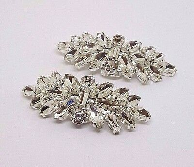 "Bridal Rhinestone Shoe Clips Set of 2 Silver Plated Small  1.75"" W"
