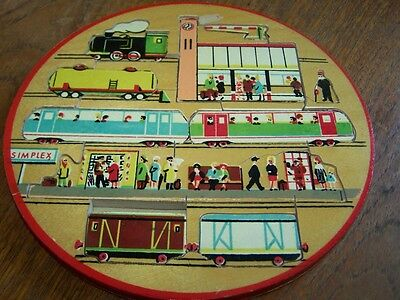 Vintage Train station Wooden Puzzle  By Simplex