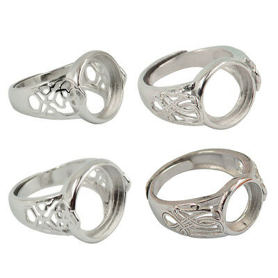 4pcs Vintage Adjustable Round Ring Blank Base Settings For Jewelry Making