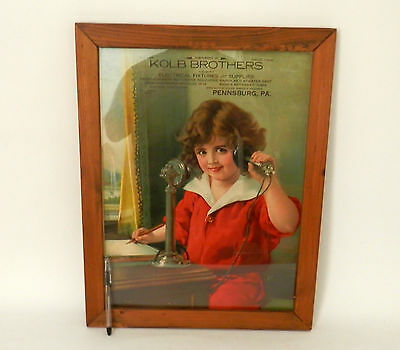 Vintage 1920s Advertising Lithograph for Radiolas with Candlestick Telephone