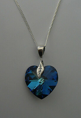 NECKLACE MADE FROM BLUE SWAROVSKI CRYSTAL 18mm HEART/STERLING SILVER 925 CHAIN