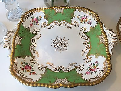"""Coalport Apple Green """"Batwing"""" 11 Inch Large Cake Plate/Serving Dish"""