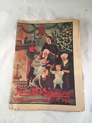 Rexall Drug Store Magazine Christmas Cover Dated December 1916 Old Antique