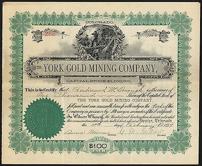 Colorado: York Gold Mining Co., $1 Shares, 1896
