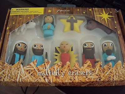 Nativity Rubber ERASERS Christmas FROM PAPERCHASE BEAUTIFUL SET