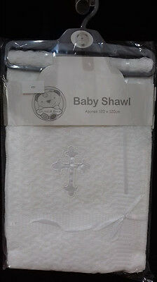 White Baby Christening Shawl Blanket with Embroidered White or Silver Cross