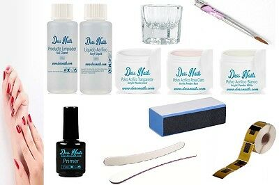 Kit Uñas De Acrilico Dessnails 01 + Set Decoracion + Manual - Porcelana Manicura