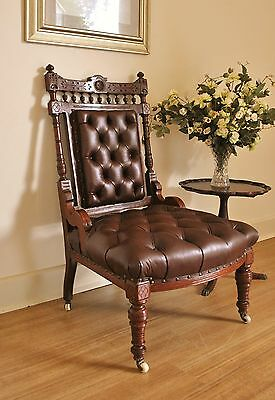 Antique Edwardian Carved Walnut Chesterfield Buttoned Ox Blood Leather Chair