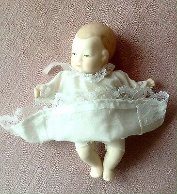 """Vintage Porcelain Baby Doll Christening Gown 5 1/2"""""""