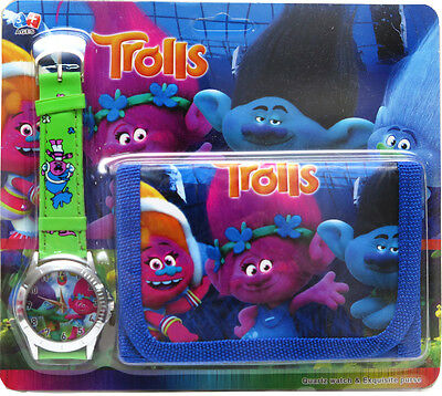 New Watch + Wallet Trolls Kids Girls Boys Gift Toys Accessories Party Gift Xmas