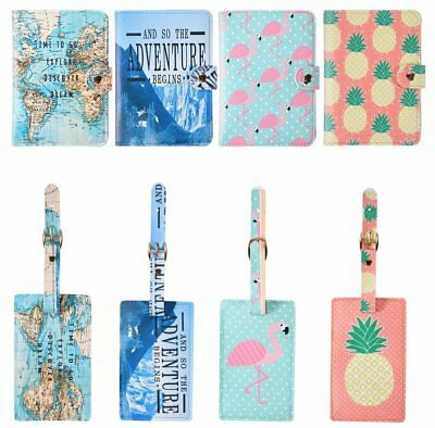 Passport Cover Wallet Card Holder+Luggage Name Address ID Tag Travel Accessories