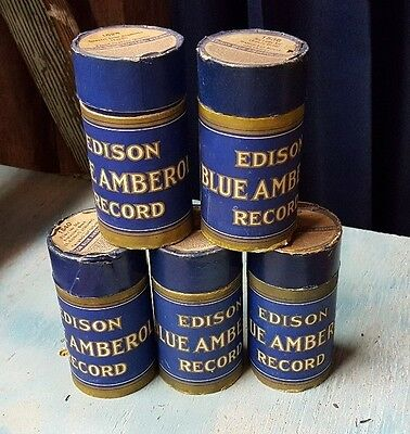 Edison Blue Amberol Cylinder Records Phonograph Lot of 5 Pre-Owned
