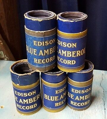 Edison Blue Amberol Cylinder Records Phonographs Lot of 5 Pre-Owned