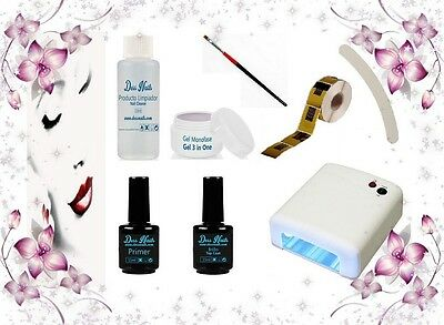 Kit Uñas De Gel Uv Dessnails 00 + Set Decoracion + Manual + Lampara Secador Uv