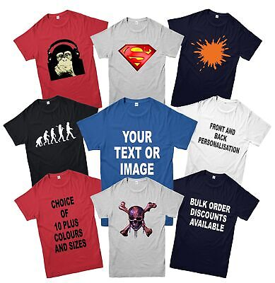 Personalised Custom Printed T-Shirt, Add Your Text,Design & Image Adult Kids Top