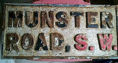 Cast iron street sign - Munster Road, London SW - genuine architectural salvage