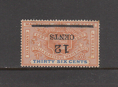 Mauritius Sc 127a 1902 12c INVERTED SURCHARGE on 36c Diamond Jubilee SG 163a