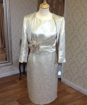 Ladies Wedding or Special Occasion Gold Dress and Bolero Size 18 - BNWT