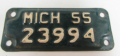 Vintage 1955 Michigan Motorcycle License Plate Tag All Original D545