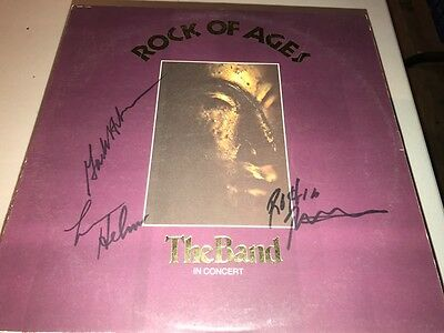The Band GROUP Signed ROCK OF AGES Album LP ROBBIE ROBERTSON LEVON HELM +