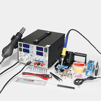 Yh-853D+ 4In1 Hot Air Rework Soldering Iron Station Dc Power Supply 30V5A Uk New