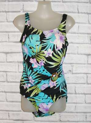 Size 16 vintage 80s does 50s swimming costume belted black tropical print (IA24)
