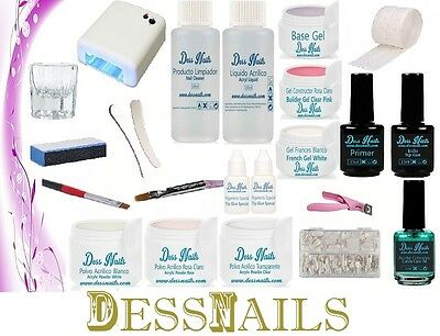 Kit De Uñas De Acrilico Y Gel Dessnails 01 + Set Decoracion + Lampara + 2 Manual
