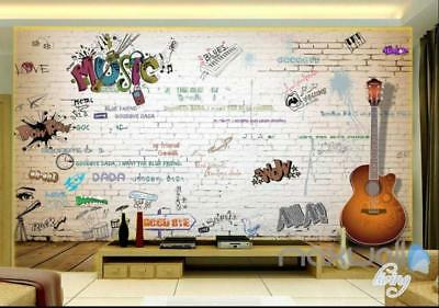3D Graffiti Music Guitar Keyboard Wall Mural Paper Art Print Decals Decor