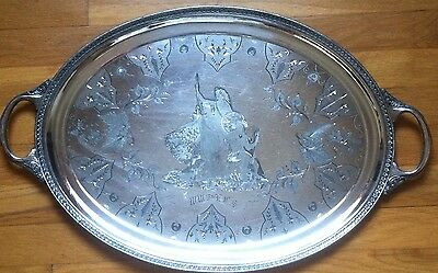 Antique Silverplate Tray US 13 Stars Native Indian Lady Freedom Bison Dbl Handle