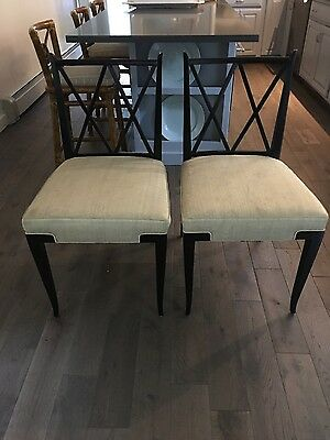 Hollywood Regency Tommi Parzinger PAIR of double x side chairs mid century