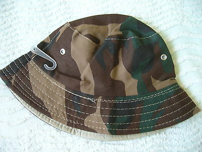Bnwt Boys Camoflage Pattern Sun Hat Approx. 2-3 Years Brown/green