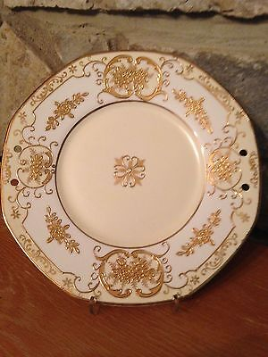 Vintage Octagonal gold embossed hand painted 9.5 in Japanese plate (discounted)