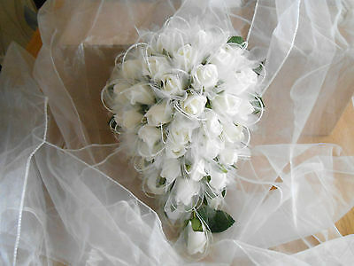 wedding flowers bouquet roses teardrop ivory shimmer bride glitter rose chiffon