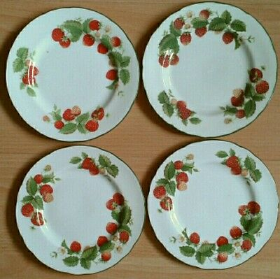 4 Roy Kirkham Strawberry Fruit Garden Side Tea Salad Plates Bone China 6.5""