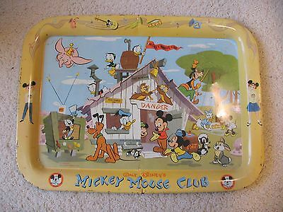 Vintage Disney Mickey Mouse Club Metal Serving Tray 1950's RARE