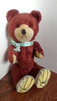 OLD Vintage Japan Teddy bear squeak belly, jointed, hand sewn? blue ribbon  WOW