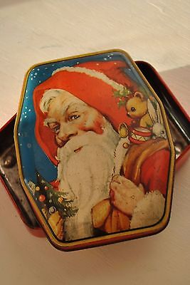 CHRISTMAS SANTA Classic ANTIQUE Candy tin with bear bunny ENGLISH CANDY TIN xmas