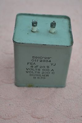 Dubilier 8uF 200v Paper in Oil Capacitor