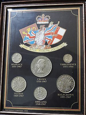 Framed Royal sterling coin collection