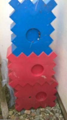 Two Large plastic RED JUMP BLOCKS, multi positional, fillable with sand/water