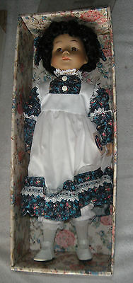 "Vintage Thomco Porcelain 16""Doll With Box & Clothing Dark Hair Brown Eyes"
