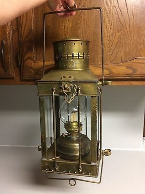 Vintage Viking Brass Hanging Ship Oil Lantern