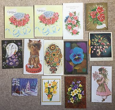 Job Lot Collection Vintage Cards Floral 70s Fold Out